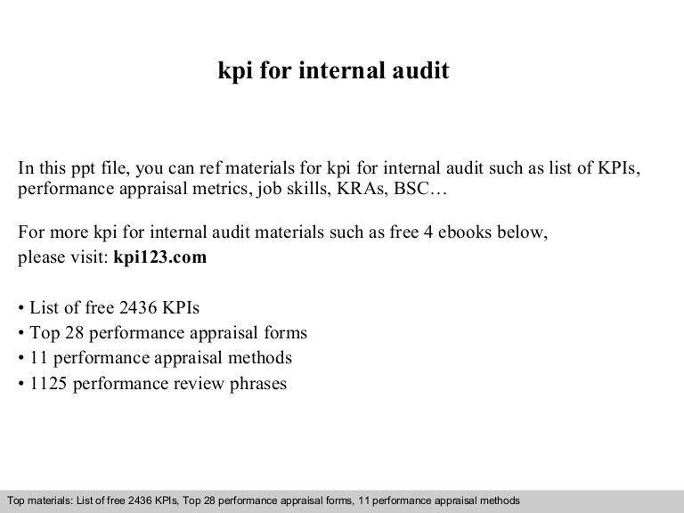 Kpi for internal audit
