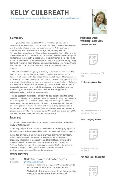 Barista Resume samples - VisualCV resume samples database