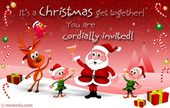 Christmas Get Together Invitation Card | Christmas Get Together ...