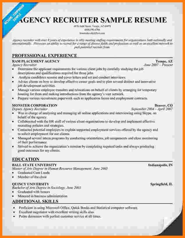 Sample Resume Recruiter. recruiter resume examples student ...