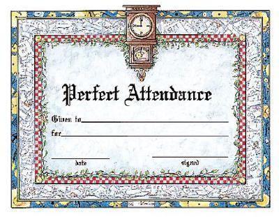 Perfect Attendance Award Certificate by Instructional Fair, School ...
