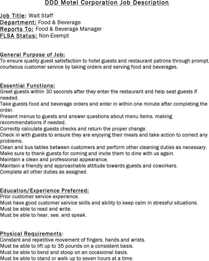 Restaurant General Manager Job Description. Restaurant Waitress .