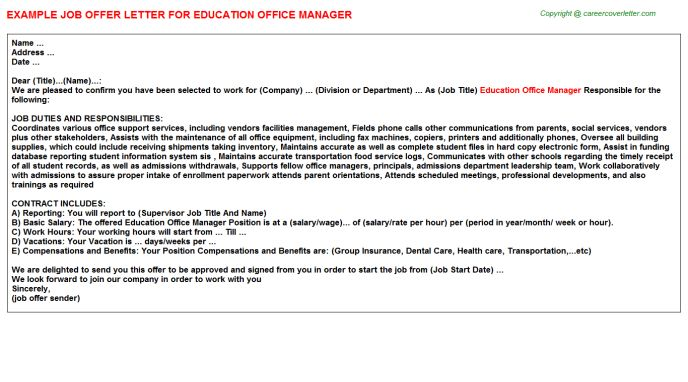 Hotel Assistant Front Office Manager Offer Letters