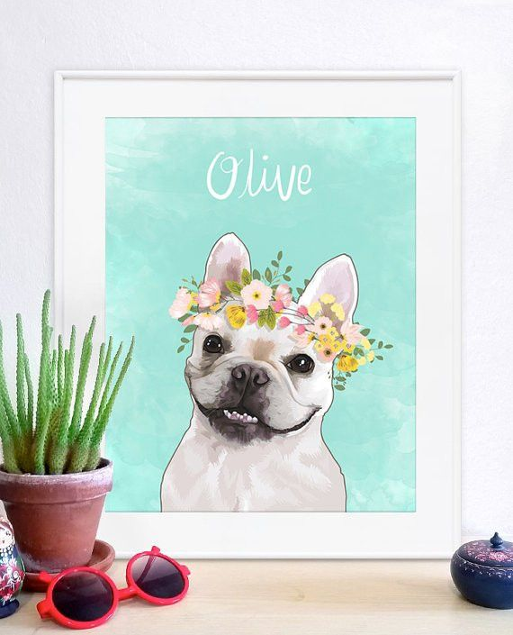 Flower Crown Pet Portrait pet portrait custom pet portrait