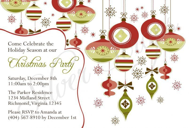 Template Simple Christmas Party Invitation Card Template With ...