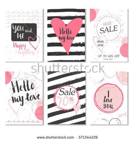 Collection Pink Black White Colored Valentines Stock Vector ...