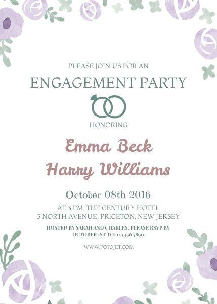 Floral Engagement Party Invitation Template Template | FotoJet