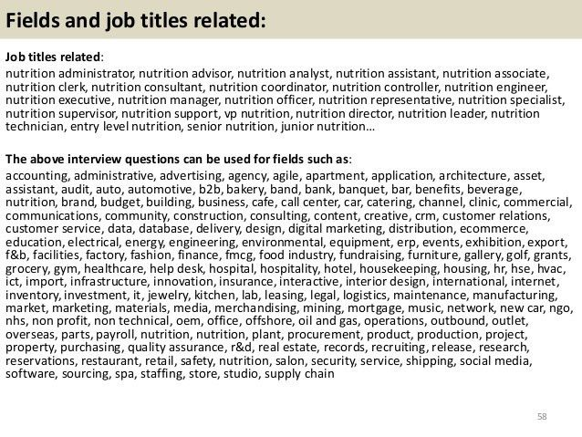 Top 10 nutrition interview questions with answers