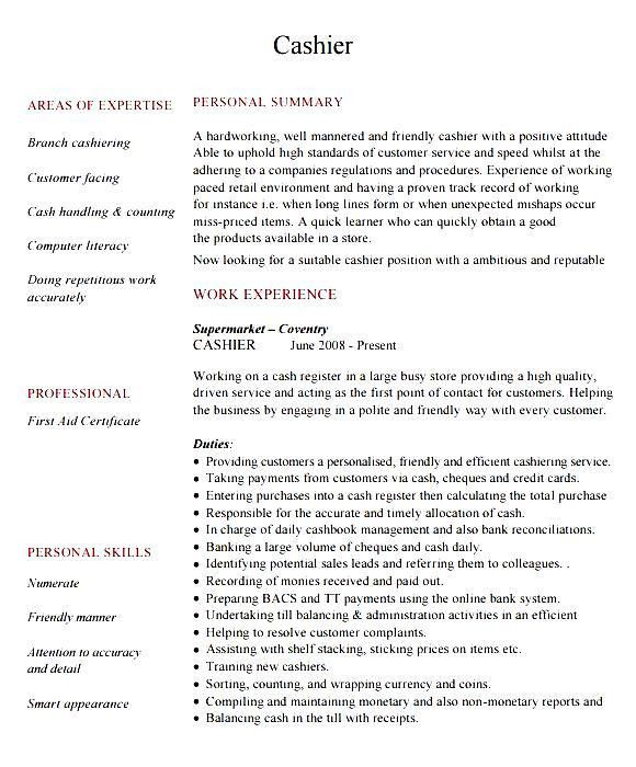 Cashier Resume Sample Word - Free Samples , Examples & Format ...
