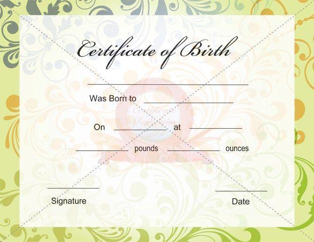 Birth Certificate Template | Certificate Template | Pinterest ...