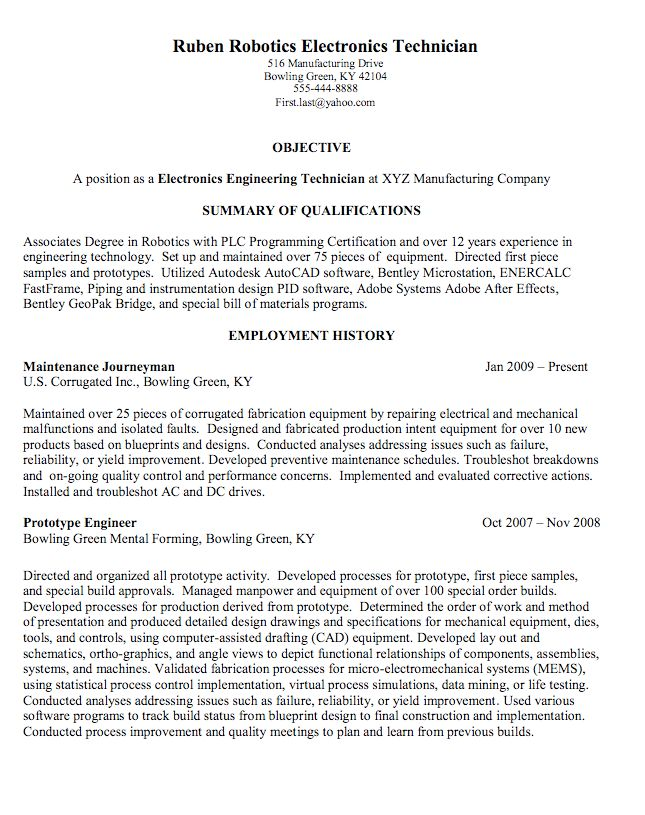 robotics electronics technician sample resume - http ...