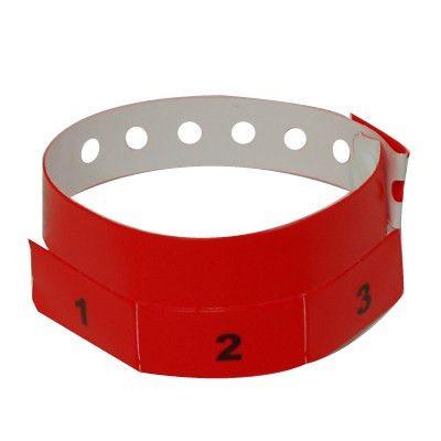 500 Neon Red Tear-off 3-Tab Plastic Wristbands | EventWristbands.com