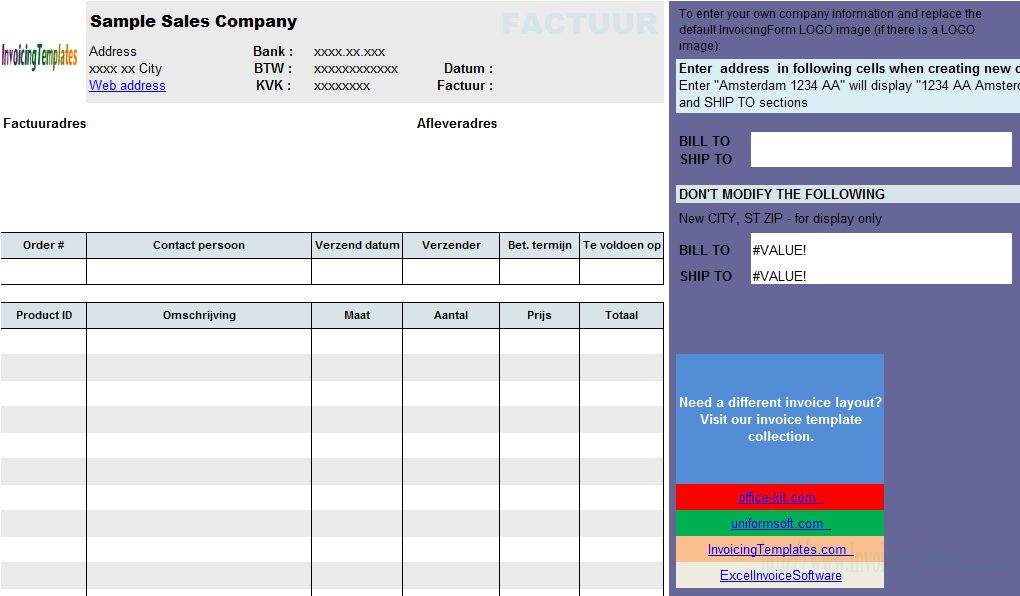 Netherland Sales Invoice Template