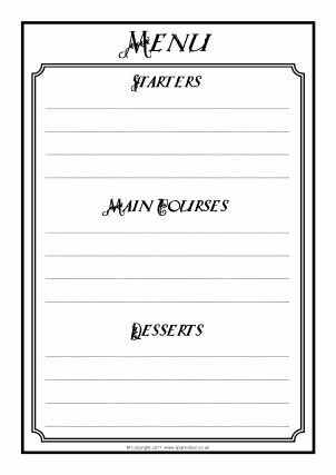 Menu Writing Frames and Printable Page Borders KS1 & KS2 - SparkleBox