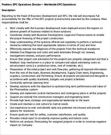 Operations Director Job Description Sample - 10+ Examples in Word, PDF