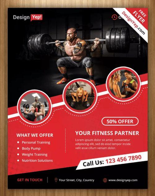 10 Free Gym & BodyBuilding Flyer / Poster Templates | Ginva