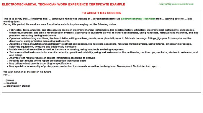 Electro Mechanical Technician Work Experience Letters