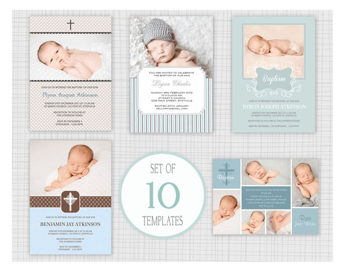 10 PSD Baptism and Christening Invitation Templates. Mixed designs ...