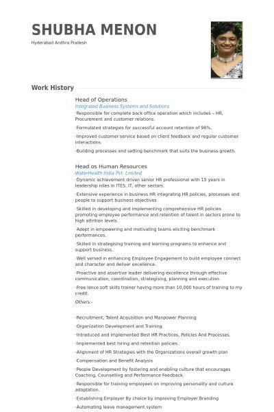 Head Of Operations Resume samples - VisualCV resume samples database