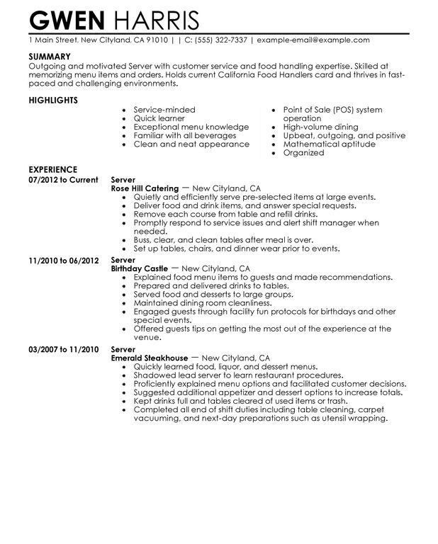Waitress Resume Example. Cocktail Waitress Resume Waitress Resume .