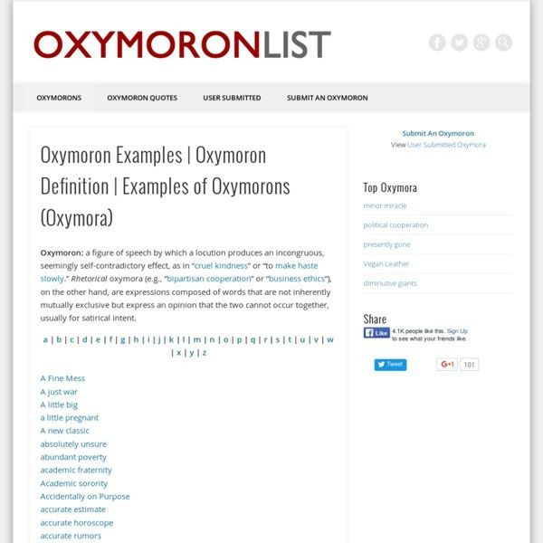 Oxymoron List — Funny Examples of Oxymorons (Oxymora) | Pearltrees