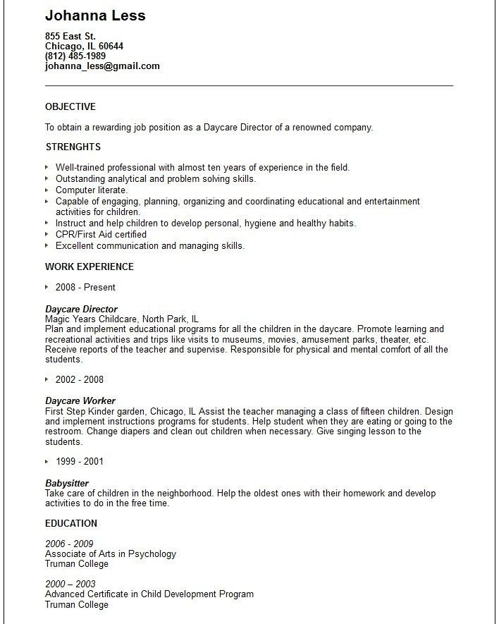 Download Daycare Resume | haadyaooverbayresort.com