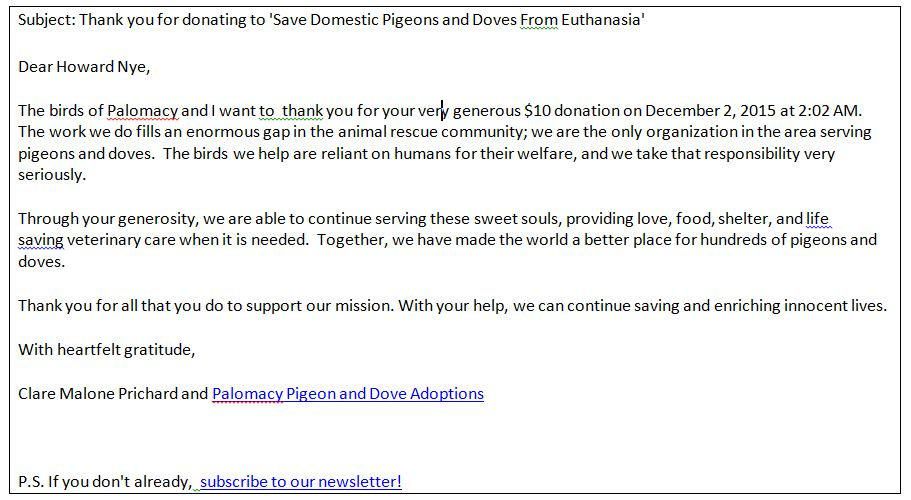 GlobalGiving - Donation Information and Thank You's