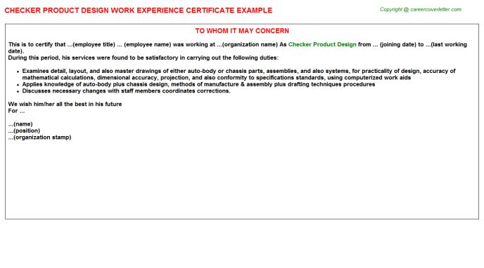 Checker Product Design Work Experience Certificate