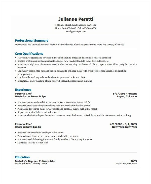 Private Chef Resume Example 2 | ilivearticles.info
