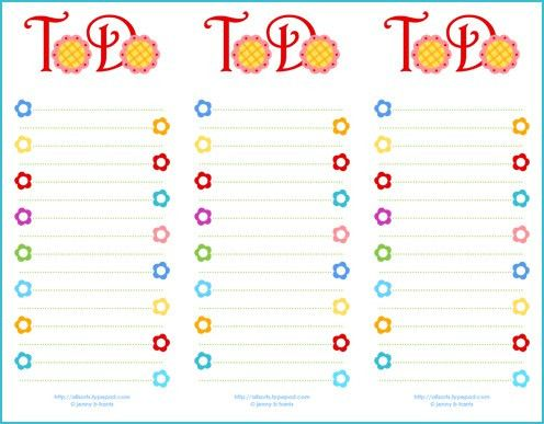 Freebie Friday ~ a new printable to-do list - allsorts