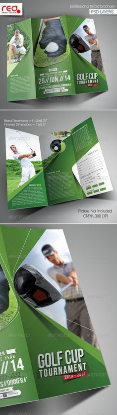 Golf Tournament Brochure Trifold + Flyer Ad | Brochures, Golf And .