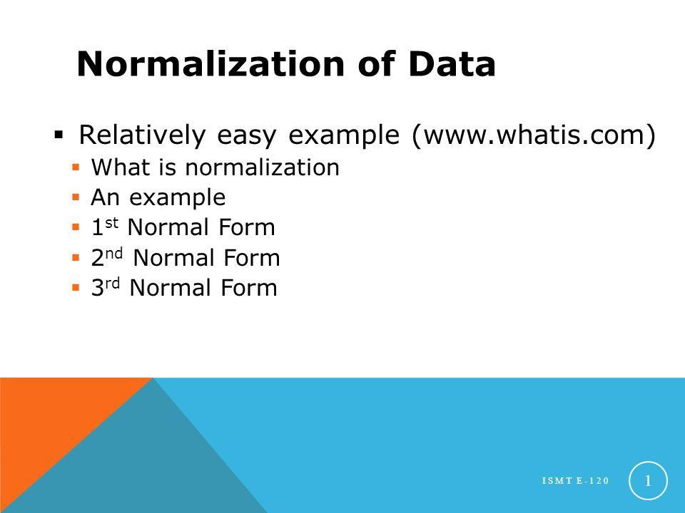 Normalization of Data Relatively easy example (www.whatis.com ...