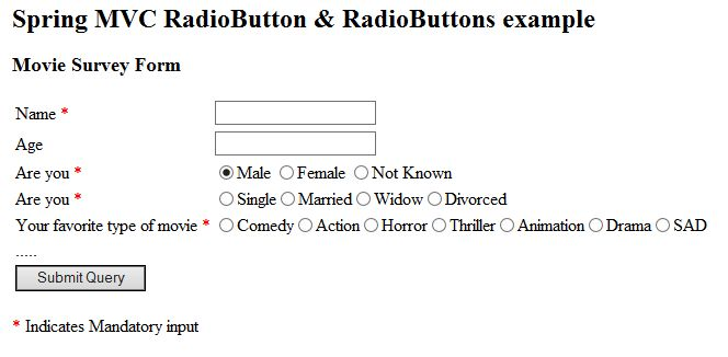 Spring 4 mvc multiple radio buttons example using hashmap ...