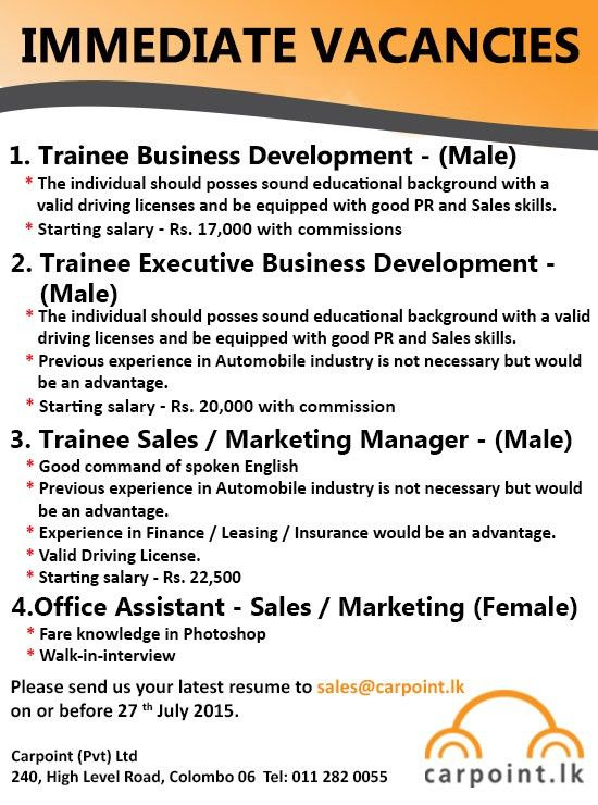 Trainee Sales / Marketing Manager - Male,jobs vacancies in sri ...