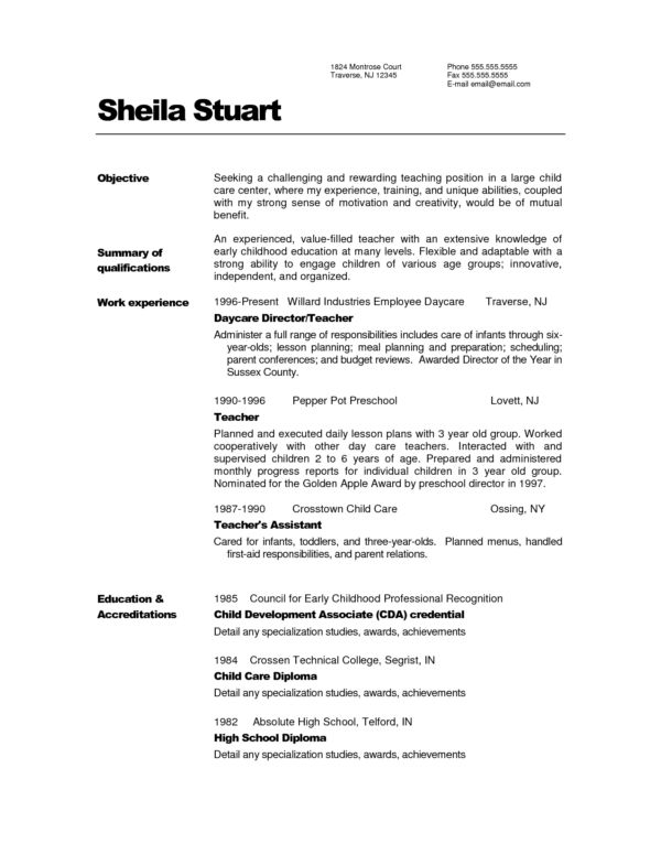 Free Printable Teacher Resume Template Example with Excellent ...
