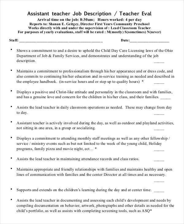 Preschool Teacher Job Description - 10+ Free PDF Documents ...