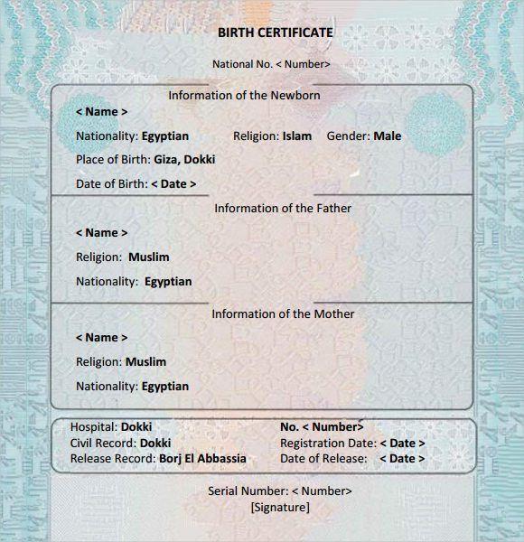 birth certificate template free