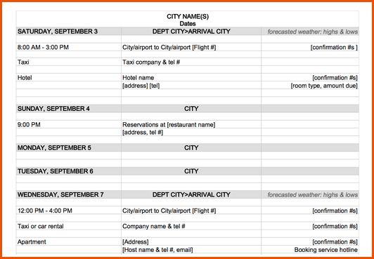 6+ travel itinerary templateMemo Templates Word | Memo Templates Word