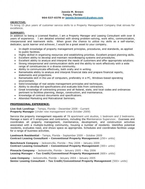 Property Manager Resume. Condominium Property Manager Resume ...