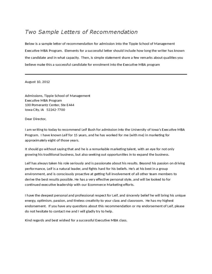 Letters of Recommendation for Employment Free Download