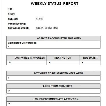 Excel Weekly status report Template Archives - Word Templates