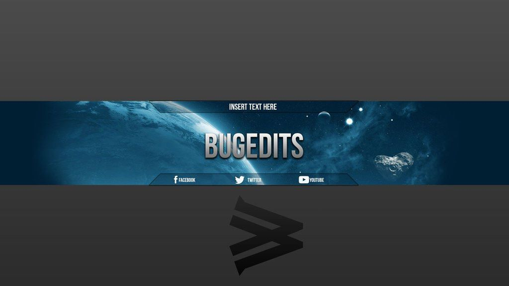 Youtube Banner - Space Concept w/ template by BugEdits on DeviantArt