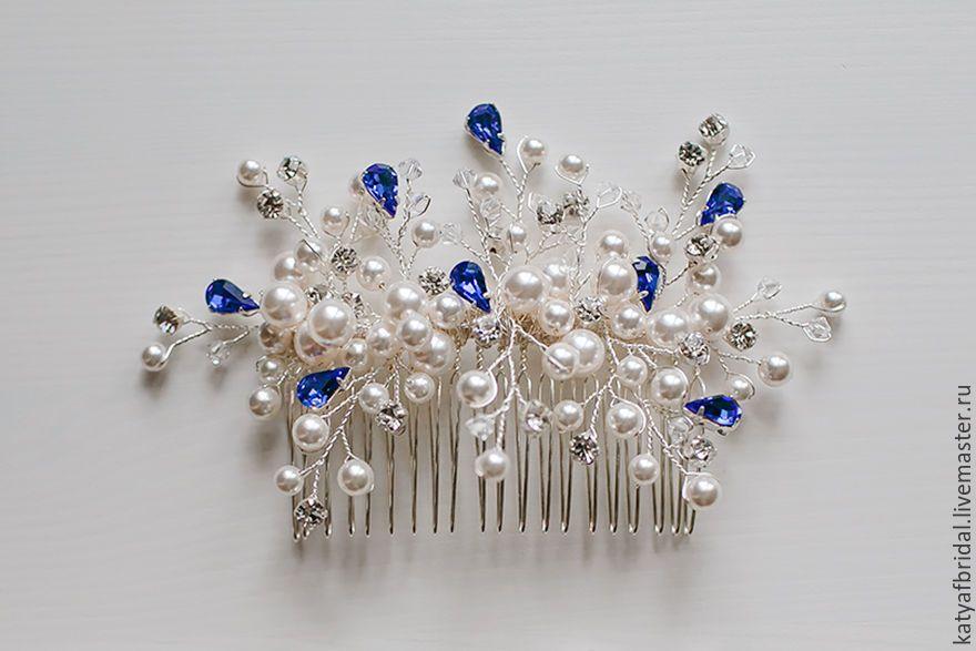 Купить или заказать Свадебный гребень из жемчуга и кристал