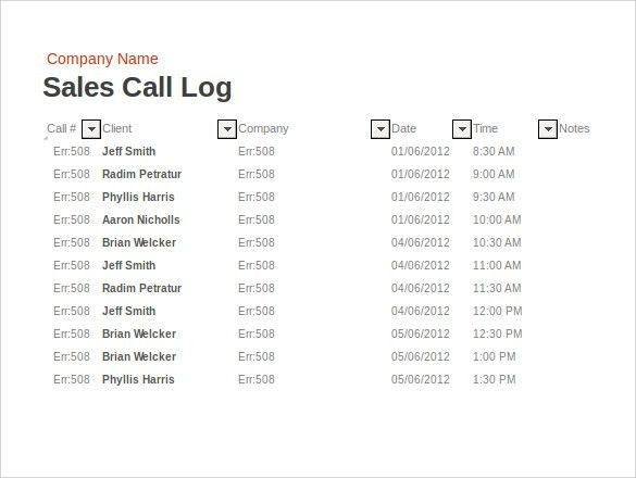 Sales Log Template. Sales Activity Tracker Daily Planner, Cold ...