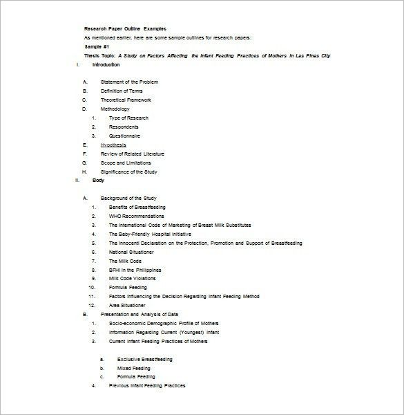 Research Outline Template – 10+ Free Sample, Example, Format ...