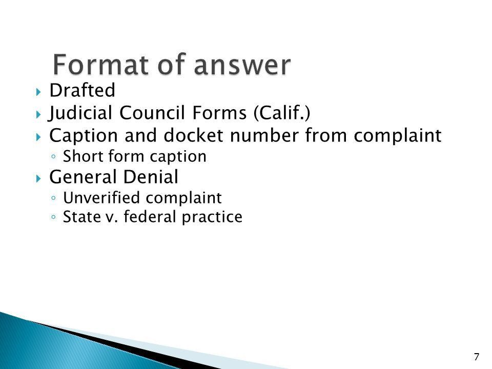 Challenges To Complaint  Answer  Motion .  Judicial Council Form Complaint