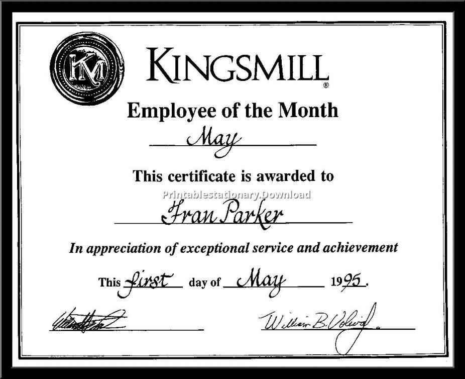 Employee Of The Month Certificate Wording - Template Update234.com ...