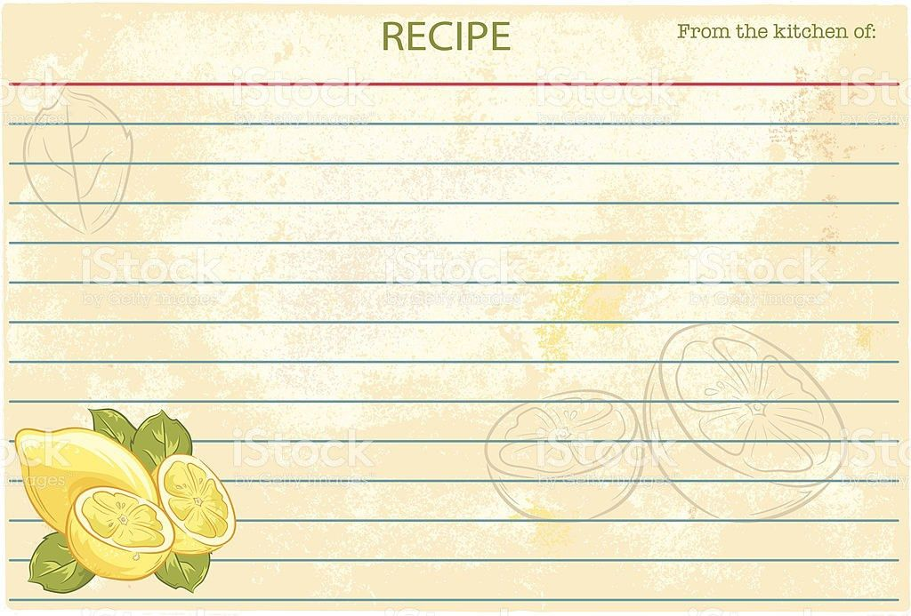 Old Fashioned Recipe Card Template Lemons stock vector art ...