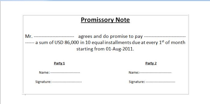 Easy To Use Loan Promissory Note Form Sample : Vatansun
