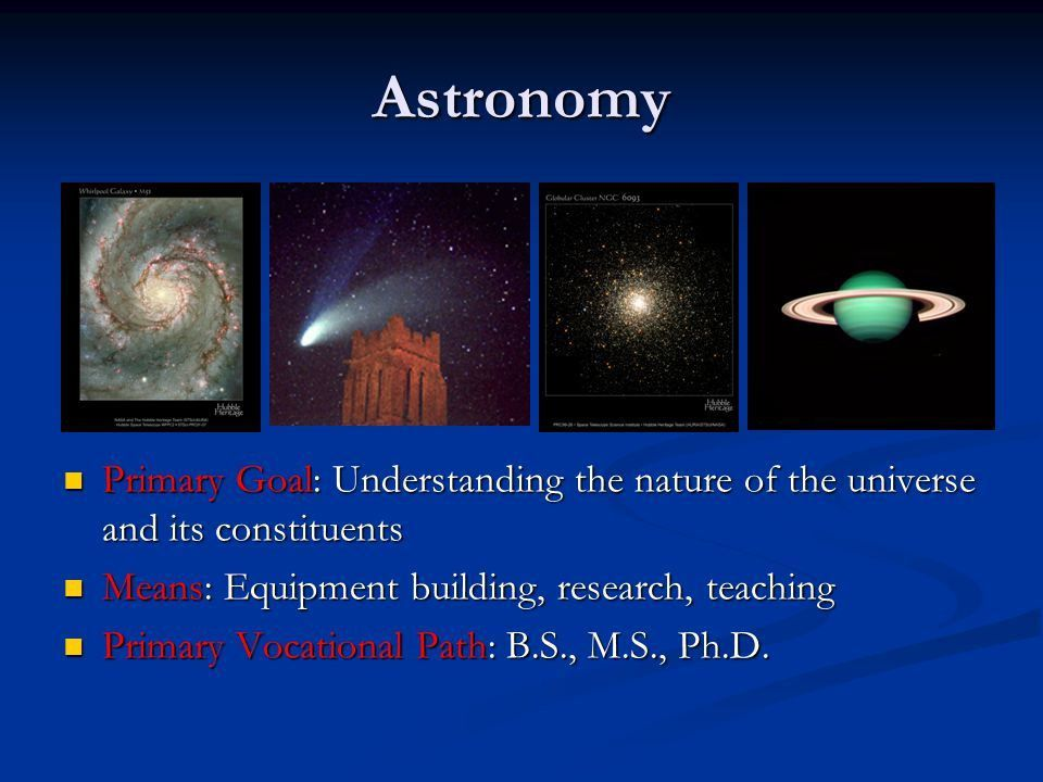 Careers in Astronomy AST 200. Astronomy Primary Goal ...